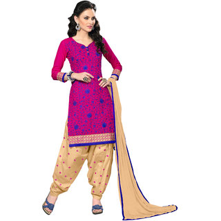 Aaina Pink  Beige Cotton Embroidered Dress Material For Women
