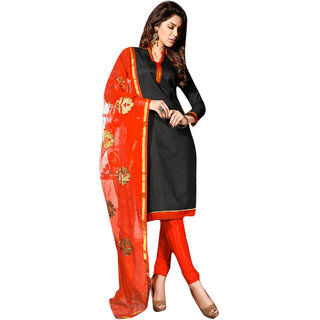 Florence Black Chanderi Embroidered Salwar Suit Dress Material (Unstitched)
