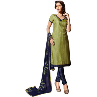 Florence Green Chanderi Embroidered Salwar Suit Dress Material (Unstitched)
