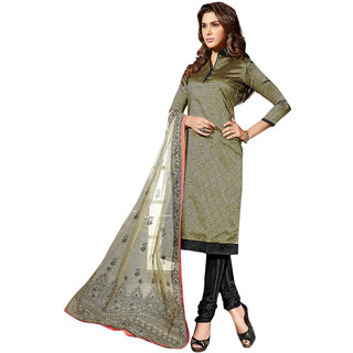 Aaina Green  Black Chanderi Cotton Embroidered Dress Material For Women