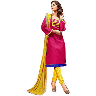 Aaina Pink  Yellow Chanderi Cotton Embroidered Dress Material For Women