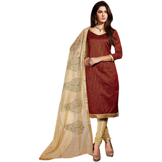 Aaina Maroon  Beige Chanderi Cotton Embroidered Dress Material For Women