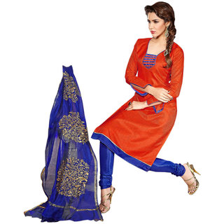 Aaina Orange  Blue Chanderi Cotton Embroidered Dress Material For Women