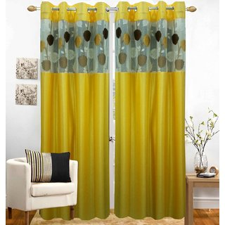Buy Homefab India Set Of 2 Russel Net Yellow Window Curtains Online