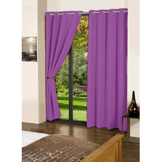 Lushomes Royal Lilac Plain Cotton Curtains With 8 Eyelets for Long Door