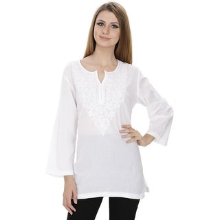 Nazrana White Lucknowi Chikankari Murri Medium Kurti