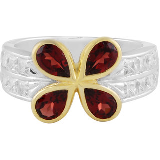 925 Sterling Silver Garnet And Cubic Zirconia Studded Ring By Allure