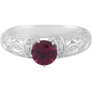 Allure Presents 925 Sterling Silver Rhodolite Gemstone Studded Ring