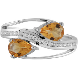 Citrine And Cubic Zirconia Gemstone Studded Ring By Allure