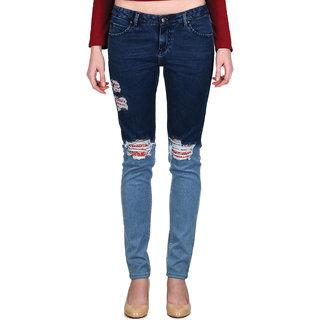 Indie Jeans KNEE ROLL Blue Womens Slim Denim Jeans