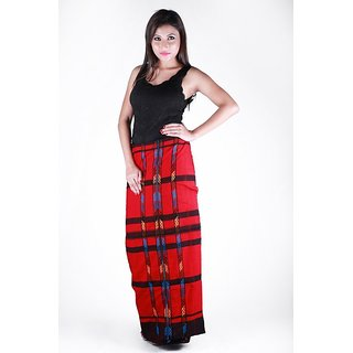 Beautiful long Red with multi colour design Wraparound skirt for ladies.