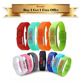 Buy 1 Get 1 Free  Snaptic Waterproof LED Sports Digital Jelly Watch