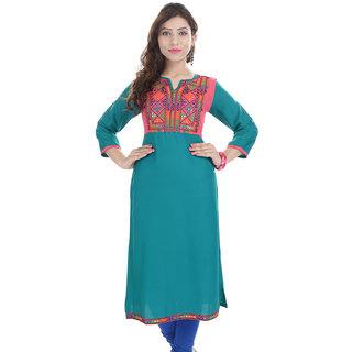Prakhya Green Rayon Embroidered Kurta For Women