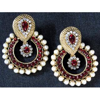 6e78809b5ab Buy Maroon pearl polki earrings Online - Get 50% Off