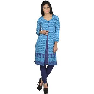 Sukuma Turquoise Printed Cotton Stitched Kurti