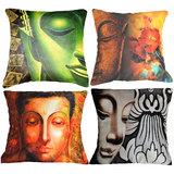 Set Of Four Indian Saints Cushion Cover Throw Pillow