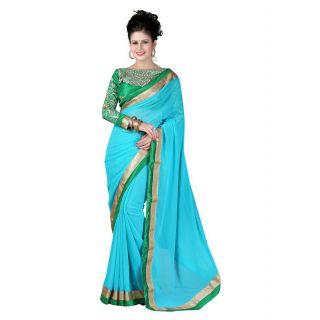 RIVA Sky Blue  and  Green chiffon saree