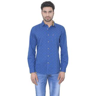 Ecohawk Casual Blue Linen Men Slim Fit Shirt