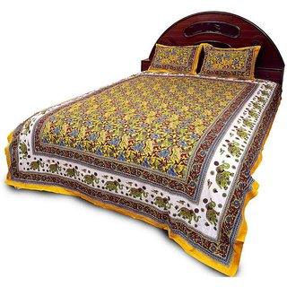 Sudharaj Rajasthani Bright Colourful Double Bed Sheet Set BCA2193
