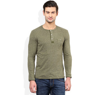 Tinted Mens Solid Henley Half Sleeve T-Shirt