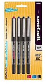 Uni-ball Vision Micro Stick Point Roller Ball Pens, 4 Colored Ink Pens