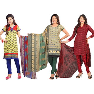 Lookslady Multicolor Cotton Printed Salwar Suit Dress Material (Pack of 3)