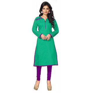 Lovely Look Green Solid Stitched Kurti LLKKFBRCRHN1008L