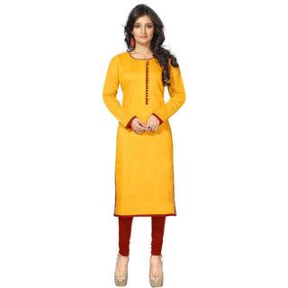 Lovely Look Yellow Solid Stitched Kurti LLKKFBRCRHN1011XL