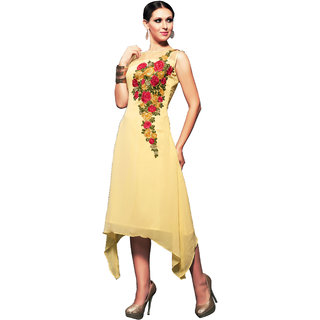 Lovely Look Yellow Embroidered Stitched Kurti LLKKFKSRFIR5107BXL