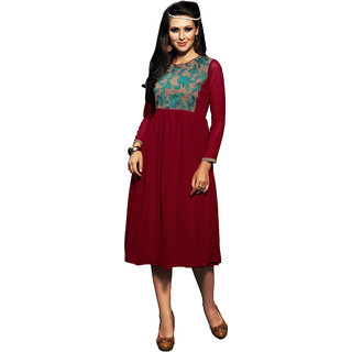 Lovely Look Maroom Embroidered Stitched Kurti LLKKFKSRFIR5108BL