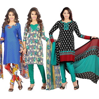 Lookslady Multicolor Crepe Printed Salwar Suit Dress Material (Pack of 3) (Unstitched)