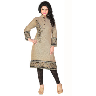 Parisha Beige Embroidered Cotton Stitched Kurti