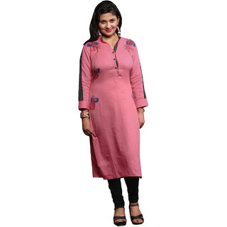 Parisha Pink Printed Cotton Stitched Kurti