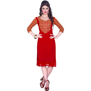 Parisha Red Embroidered Georgette Stitched Kurti