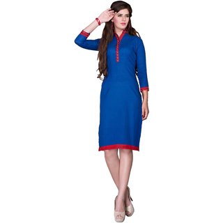 Parisha Blue Plain Cotton Stitched Kurti