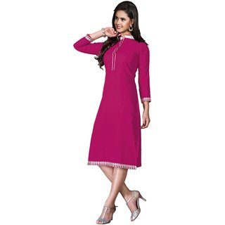 Parisha Pink Plain Cotton Stitched Kurti