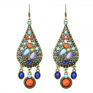 Waah Waah Vintage colorful gem stone statement ethnic earrings set for women (3-0E00-MG-1041)