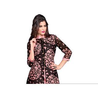 PARISHA Black  Pink Printed Stitched Kurti KFTL1001XXL