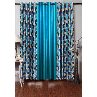 Homefab India Set Of 3 Multi Style Aqua Blue Window Curtains