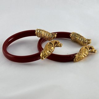 Stretchable bangles 21cut colour red size-2.2,2.4,2.6,2.8,2.10