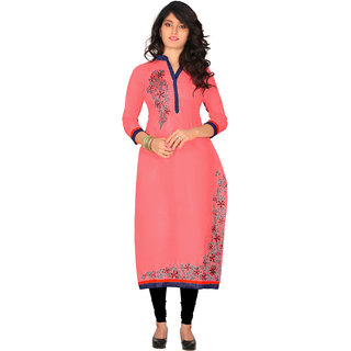 Lovely Look Peach Embroidered Stitched Kurti LLKKFKJFMN3905XL