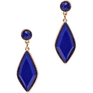 Dark Blow Diamond Filled Metal With Gold Plated Border Area Earring Set