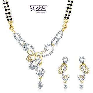 Sukkhi Traditional Gold and Rhodium Plated CZ Mangalsutra Set