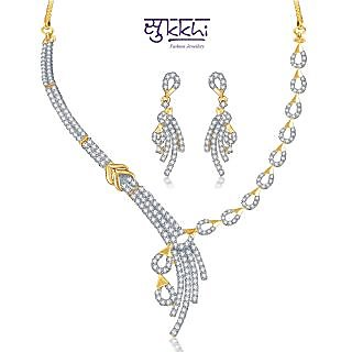 a5e49c08834 Buy Sukkhi Gold And Rodium Plated Excellent Cz Necklace Set | Online ...