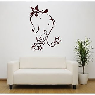 Hoopoe Decor Lord Ganesha With Flowers Wall Stickers And Decals