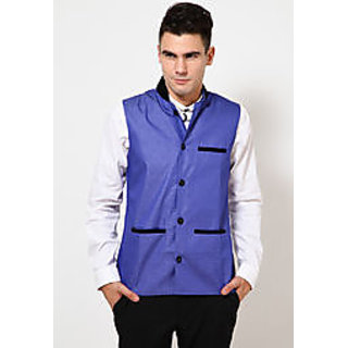 Blue Slim Fit Waist Coat