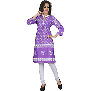 Purple,White Cotton Regular Kurti For Women
