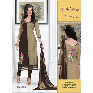 Trendz Apparels Light Brown PC Cotton Straight FIt Salwar Suit
