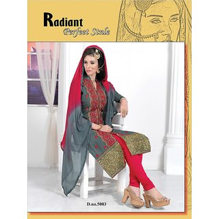 Trendz Apparels Dark Grey PC Cotton Straight FIt Salwar Suit (Unstitched)