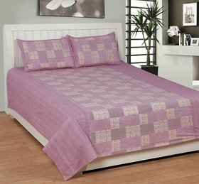 Geonature Wine Poly-Cotton 1 Double Bedsheet with 2 pillow cover (GSANTRO2)